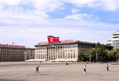 COREIA DO NORTE, PYONGYANG - 26 DE SETEMBRO DE 2017: Kim Il Sung Square Foto de Stock