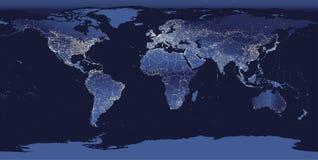 世界城市点燃地图 夜从空间的地球视图 也corel凹道例证向量