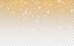 在透明背景的金黄闪烁闪闪发光 与闪光光的金充满活力的背景 r 库存例证