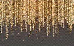 在透明背景的金黄闪烁闪闪发光 与闪光光的金充满活力的背景 r 向量例证