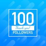 100 οπαδοί, σας ευχαριστούν, η κοινωνική θέση περιοχών σας ευχαριστεί κάρτα συγχαρητηρίων οπαδών r απεικόνιση αποθεμάτων