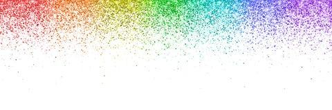 彩虹落的微粒,在白色背景的宽横幅 向量 库存照片