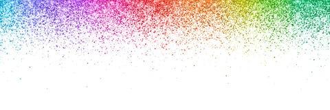 在白色背景,宽水平的取向的五颜六色的闪烁的五彩纸屑 向量 免版税图库摄影