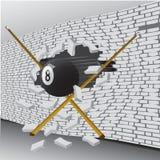 Шарик билльярда сломал стену иллюстрация вектора