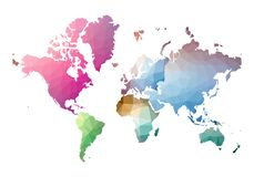 Παγκόσμιος χάρτης τρομερό χαμηλό πολυ ύφος ελεύθερη απεικόνιση δικαιώματος