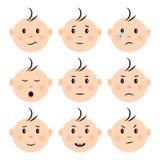 设置用不同的情感的面孔婴孩 ?? 向量例证