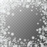 在透明背景隔绝的落的白色雪花 雪背景 雪花框架  设计的雪花 向量例证