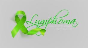 Σχέδιο αφισών καλλιγραφίας συνειδητοποίησης λεμφώματος Ρεαλιστική πράσινη κορδέλλα ασβέστη Σεπτέμβριος είναι μήνας συνειδητοποίησ διανυσματική απεικόνιση