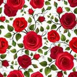 无缝模式红色的玫瑰 也corel凹道例证向量 库存照片
