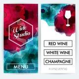 Карточки меню для студии вина также вектор иллюстрации притяжки corel Стоковые Изображения RF