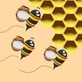 三只回到蜂窝的蜂运载的蜂蜜瓶子 也corel凹道例证向量 免版税库存图片