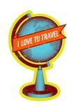 我爱旅行 与地球的减速火箭的难看的东西样式海报 也corel凹道例证向量 库存照片