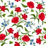 Безшовная картина с красными и голубыми цветками также вектор иллюстрации притяжки corel Стоковая Фотография RF