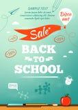 回到学校销售海报 也corel凹道例证向量 免版税库存照片