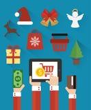 Дизайн с Рождеством Христовым и Нового Года продажи современный плоский также вектор иллюстрации притяжки corel Стоковое Фото