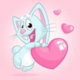 拿着爱心脏的逗人喜爱的小的兔宝宝 也corel凹道例证向量 库存图片