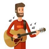 音乐家或吉他弹奏者播放曲调 也corel凹道例证向量 免版税库存照片
