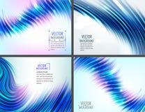 Σύνολο 4 μπλε αφηρημένων υποβάθρων κυμάτων επίσης corel σύρετε το διάνυσμα απεικόνισης Στοκ Εικόνα