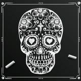 死的头骨剪影的黑板天 凹道糖花 纹身花刺 也corel凹道例证向量 免版税库存照片