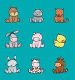 Cores 2 dos animais do bebê Imagens de Stock Royalty Free