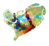 Cores abstratas, contrastes e formulários brincalhão Coração isolado ilustração do vetor