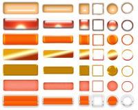 Cores alaranjadas diferentes dos botões e dos ícones para o design web fotografia de stock royalty free