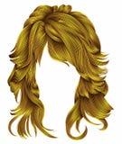 Cores amarelas brilhantes dos cabelos longos na moda da mulher Forma da beleza Foto de Stock Royalty Free