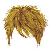 Cores amarelas brilhantes na moda dos cabelos curtos da mulher franja Fashio Foto de Stock