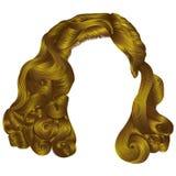 Cores amarelas brilhantes na moda dos cabelos curtos da mulher franja Forma Fotografia de Stock