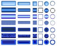 Cores azuis diferentes dos botões e dos ícones para o design web imagens de stock