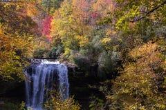 Cores bonitas da queda em quedas secas nas montanhas, North Carolina fotografia de stock