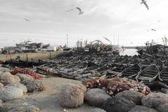 Cores bonitas, porto de Essaouira Marrocos fotos de stock royalty free
