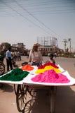Cores cheias da cor feliz indiana do homem do holi Imagem de Stock