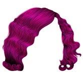 cores cor-de-rosa brilhantes do kare na moda dos cabelos da mulher ondas retros do estilo da forma da beleza 3d realístico Fotos de Stock