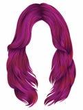 Cores cor-de-rosa brilhantes dos cabelos longos na moda da mulher Forma da beleza Imagem de Stock