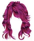 Cores cor-de-rosa brilhantes dos cabelos longos na moda da mulher Forma da beleza Re Foto de Stock