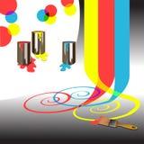 Cores - cores das pinturas e das ferramentas e da mistura Imagem de Stock