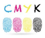 Cores de Cmyk com vetor das impressões digitais ilustração stock