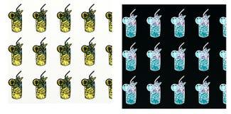 Cores de Lic, com motivo repetido, com tirado, um grupo do watermelonA, de uma composição do pop art Um cocktail ilustração stock