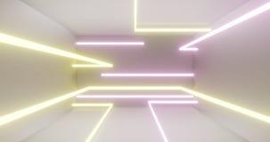 cores de néon dos tubos da luz 3d, cena clara branca 3d para render ilustração stock