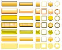Cores diferentes de botões e de ícones amarelos para o design web fotos de stock