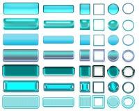 Cores diferentes de botões e de ícones de turquesa para o design web imagens de stock royalty free