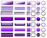 Cores diferentes de botões e de ícones roxos para o design web Foto de Stock