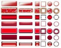 Cores diferentes de botões vermelhos e de ícones para o design web imagens de stock