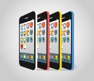 Cores diferentes do smartphone moderno Imagem de Stock Royalty Free