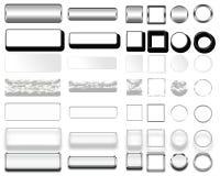 Cores diferentes dos botões e dos ícones brancos para o design web foto de stock royalty free