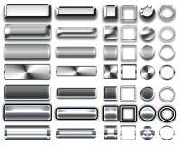 Cores diferentes dos botões e dos ícones de prata para o design web Fotos de Stock Royalty Free