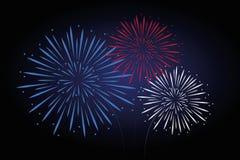 Cores do branco do vermelho azul dos fogos-de-artifício ilustração do vetor