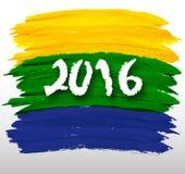 Cores do fundo da bandeira brasileira com inscrição 2016 Imagem de Stock