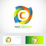 Cores do logotipo da letra C ilustração stock